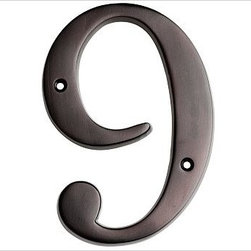 "Stella House Number, 9, Bronze finish - These beautifully crafted numbers add a warm, polished accent that coordinates perfectly with our Stella Door Knocker and Mail Slot. 0: 4"" wide x 5"" high 1: 2"" wide x 5"" high 2: 3"" wide x 5"" high 3: 3"" wide x 5"" high 4: 3.5"" wide x 5"" high 5: 3"" wide x 5"" high 6: 3"" wide x 5"" high 7: 3"" wide x 5"" high 8: 3"" wide x 5"" high 9: 3"" wide x 5"" high Made of brass, stainless steel and zinc with an antique silver, vintage brass or bronze finish. Sealed with lacquer. Internet only."