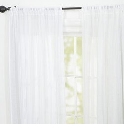 """Linen Sheer Drape, 54 x 84"""", White - A deep, elegant hem makes our Linen Sheer Drape ideal on its own or as a layering piece. 100% sheer linen softly filters the light without obscuring the view outside. Hangs from the pole pocket or converts to ring-top style with drapery hooks. Use with 10 Clip Rings (sold separately). Watch a video on {{link path='/stylehouse/videos/videos/h2_v1_rel.html?cm_sp=Video_PIP-_-PBQUALITY-_-HANG_DRAPE' class='popup' width='420' height='300'}}how to hang a drape{{/link}}. Select items are Catalog / Internet Only. Imported."""