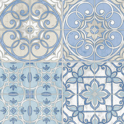 Spanish Tile in Blue and Green - KE29950 - Collection:Kitchen Elements
