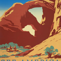 See America Arches National Park Print - See America Arches National Park, Utah by artist, Frank S. Nicholson original poster for the United States Travel Bureau promoting tourism, showing two cowboys on horseback by stream near desert rock formation. Create for the NYC : Works Progress Administration Federal Art Project, [between 1936 and 1939]
