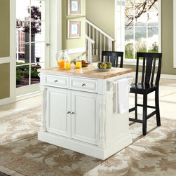 """Butcher Block Top Kitchen Island In White Finish With 24"""" Black Shield Back Stoo - Width 48.25"""" Height 36"""" Depth 23"""".  Product Weight is 168 lb. Solid Hardwood & Wood Veneer Construction. Fully Functional Doors & Drawers on Both Sides. Butcher Block Top. Two Towel Bars. Beautiful Raised Panel Doors, Drawers & Side Panels.. Brushed Nickel Hardware. Carved Column Accents. Two Adjustable Shelves Behind Doors. Solid Hardwood & Wood Veneers. Assembly Required. . ISTA 3A Certified. ."""