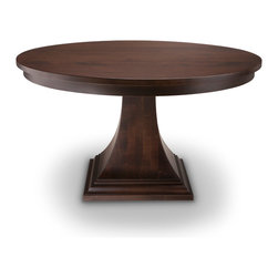 "Woodcraft - The Bedford Park, 60+1-12""ext - Soft lines, solid craftmanship and an eye for detail.  That is what makes this stand out.  Made out of solid Canadian Maple, this table is great for small dining areas or kitchens."