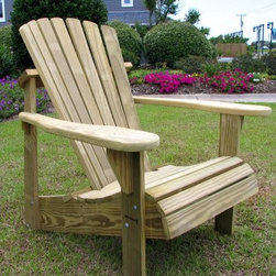Weathercraft Designer's Choice Pine Adirondack Chair - Natural - The Designer's Choice Pine Adirondack Chair may look like similar models you've seen in your local stores but it's so much better. Constructed of high-quality #1 grade Southern Yellow Pine this chair is protected by environmentally- and family-friendly pressure-treated preservatives that give it a lifetime of weather resistance. All nuts bolts and screws have a hot-dipped galvanized coating and all nails are stainless steel for additional protection against the elements. A curved comfort back and a contoured seat make it extra relaxing. If you'd like to prolong the life of your chair we recommend staining with a transparent stain or similar protectant. Due to the pressure treatment process this wood has undergone painting this chair with solid color paint is not recommended. If left untreated this chair will weather to a beautiful silvery patina grey over time. About WeatherCraft Outdoor Furniture Inc.Just two people started WeatherCraft Furniture in 1988 but out of their small North Carolina garage grew a flourishing outdoor furniture business that today fills an 8 000-square-foot manufacturing plant. Customer service and satisfaction are WeatherCraft's focus evident in the high-quality materials and careful construction used to create the company's signature Adirondack chairs. The lumber used is kiln-dried reducing instances of cracking and making it ideal for natural weathering.