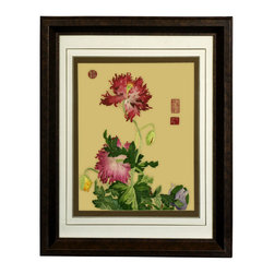 China Furniture and Arts - Floral Scene Silk Embroidery Frame - Silk embroidery is a Chinese art form with origins dating back millennia. With each piece containing thousands of tiny threads, a composition requires an extremely high level of skill to create. This particular embroidery is enlivened by two pink flowers. The reflective nature of the silk thread allows the vibrant colors of the petals and leaves to stand out beautifully in light. Museum quality  framing makes this piece ready to hang and make a statement on any wall it adorns.
