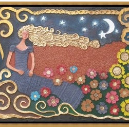 """Wishing"" (Original) By Liborio Aniceto Doctor - All Handmade Papier Mache Artwork, A Depiction Of A Beautiful Lady On A One Stary Stary Night, As She Makes Wishful Thinkings. And With Flowers On Her Feet."