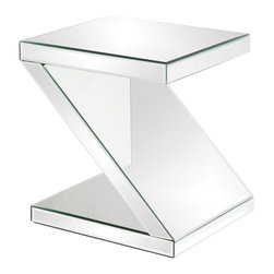 Howard Elliott - Z-Shaped Mirrored End Table - This Z-Shaped mirrored end table offers both function and style.