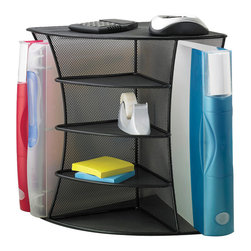 """Safco - Onyx Mesh Desk Corner Organizer - Black - Onyx it! Organize your small items with files in reach on the side. The unit fits perfectly in a 90-degree corner. Can be used as a corner organizer or as a radius organizer. Steel mesh construction is designed to hold binders, notebooks, file folders, CD's etc.; Features: Material: Steel; Color: Black; Finished Product Weight: 3 lbs.; Assembly Required: No; Limited Lifetime Warranty; Dimensions: 15""""W x 11""""D x 13""""H"""