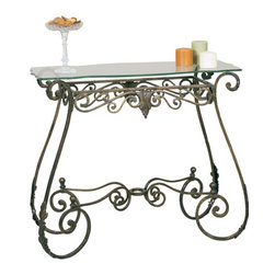 Welcome Home Accents - Metal Console Table - Rectangular console table features scrolled legs support a removable tempered glass table top. Glass top sits securely on table using the clear acrylic suction cups that are included.Legs have an acanthus leaf motif design and comes in oiled rubbed bronze finish. Perfect for a hallway or behind a sofa. Assembly required