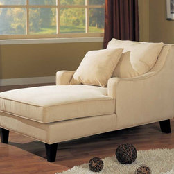 Coaster - Beige Transitional Chaise - Relax in style in this ultra comfortable microfiber chaise lounger accented with cappuccino finished wood legs.
