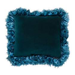 Brandi Renee Designs - Dark Teal Ruffle Pillow - Like a precious gemstone delicately set in a necklace or bracelet, this jewel toned accent pillow will undoubtedly enhance your interior. Sophisticated and vibrant, the rich aqua hues have an elegant vibe that is calming, yet engaging. The cozy polyfill form is beautifully dressed in dark teal suede, and framed with a matching ruffle trim.