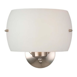 Minka George Kovacs - Minka George Kovacs Decorative Wall Sconces 2-Light Brushed Nickel Wall Light - This 2-Light Wall Light has a Brushed Nickel Finish and White Frosted Glass.