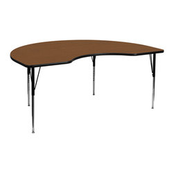 Flash Furniture - Flash Furniture 48 x 72 Kidney Shaped Activity Table with 1.25 Inch Laminate Top - Flash Furniture's XU-A4872-KIDNY-OAK-H-A-GG warp resistant high pressure laminate Kidney activity table features a 1.25'' top and a high pressure laminate work surface. This Kidney Shaped high Pressure Laminate activity table provides an extremely durable (no mar, no burn, no stain) work surface that is versatile enough for everything from computers to projects or group lessons. Sturdy steel Legs adjust from 21.25'' - 30.25'' high and have a brilliant chrome finish. The 1.25'' thick particle board top also incorporates a protective underside backing sheet to prevent moisture absorption and warping. T-mold edge banding provides a durable and attractive edging enhancement that is certain to withstand the rigors of any classroom environment. Glides prevent wobbling and will keep your work surface level. This model is featured in a beautiful Oak finish that will enhance the beauty of any school setting. [XU-A4872-KIDNY-OAK-H-A-GG]