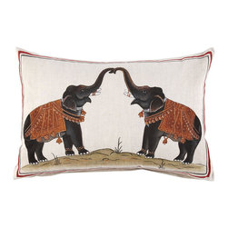 Two Elephants Decorative Pillow - Here's an exquisite pillow by John Robshaw, this one with a pair of elephants. This is going on my Christmas wishlist.