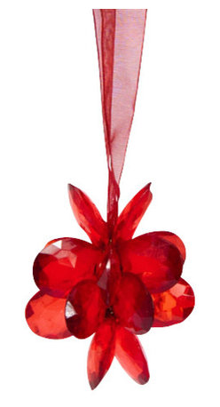 Sitara Collections - Handmade Red Acrylic Flower Holiday Ornament with Color Matched Hanging Cord - Simple Yet Stunning, these acrylic Flower ornaments are the Icing om the Cake of Your Seasomal Decor. Expertly Crafted into Charming Clusters of Shiny Blossoms, they include a Complementary Ribbom That Provides an Elegant Finishing touch.