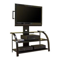 Studio RTA - Studio RTA Glass TV Stand Black/Dark Espresso - Studio RTA - TV Stands - 404700