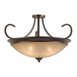 Triarch International - Triarch International 31401-27 Wrought Iron 4 Light Convertible Ceiling Fixture - Four light convertible ceiling fixture featuring hand painted rainbow scavo glassFixture can be hung as a semi flush ceiling fixture or as a pendantRequires 4-100w Medium Base Bulbs (Not Included)