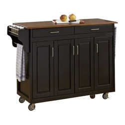 Home Styles - Home Styles Create-a-Cart in Black Finish with Oak Top - Home Styles - Kitchen Carts - 92001046G - Home Styles Create-a-cart in a black finish with a 3/4 inch oak finished wood top features solid wood construction, four cabinet doors that open to storage with three adjustable shelves inside, handy spice rack with towel bar, paper towel holder, and heavy duty locking rubber casters for easy mobility and safety. Size: 48.75w 17.75d 34.75h. Assembly required.