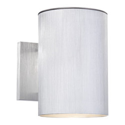 """Lamps Plus - Contemporary Matthis 7 1/2"""" High Silver LED Downlight - Add this downlight to your indoor or outdoor spaces for contemporary style lighting. Finished in silver and made of aluminum this design is smooth and sleek and great near garage areas and entryways. LEDs add energy efficiency to this lighting fixture. Energy efficient downlight. Silver finish. Aluminum construction. Includes 6 watt LED. Light output is 300 lumens. Comparable to a 35 watt incandescent bulb. 2700K color temperature. 9"""" high. 5"""" wide. Extends 8 1/4"""" from the wall.  Energy efficient downlight.  Silver finish.  Aluminum construction.  Includes 6 watt LED.  Light output is 300 lumens.  California Title 24 compliant.  Comparable to a 35 watt incandescent bulb.  2700K color temperature.  7 1/2"""" high.  5"""" wide.  Extends 8 1/4"""" from the wall."""