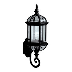 "Kichler Lighting - Kichler Lighting - 9736BK - New Street - One Light Outdoor Wall Bracket - With its timeless profile, this 1-light wall lantern is perfect for those looking to embellish classic sophistication outdoors. Because it is made from cast aluminum and comes in this beautiful Black finish, this wall lantern can go with any home decor while being able to withstand the elements. It features clear beveled glass panels, uses a 100-watt (max) bulb, measures 8"" wide by a big 22"" high, and is U. L. listed for wet location."