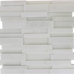 "GlassTileStore - Illusion 3D Brick White Thassos Pattern - ILLUSION 3D BRICK WHITE THASSOS MARBLE MOSAIC TILE  Add beautiful dimension to your home by picking 3D ?tile? for use in your ?backsplash? or feature ?wall? projects! This distinctive pattern is made of various sized pieces of marble in white thassos marble. The 3D brick pattern gives a unique and elegant design to your room. This modern and contemporary tile can be used as a feature wall, backsplash, fireplace, or kitchen.      Chip Size: 5/8"" x 4"", 3/4""x4"", 1 1/2"" x 4""   Color: White Thassos   Material: White Thassos   Finish: Polished   Sold by the Sheet - each sheet measures 12"" x 12"" (1 sq. ft.)   Natural material will have color variation from piece to piece"