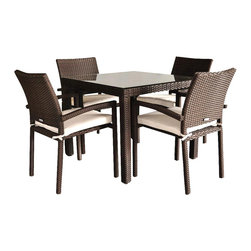 Amazonia - Liberty 5 Pc Dining Table Set - Set includes Table and 4 Arm Chairs. Aluminum and Synthetic Wicker frame. Dark Brown Wicker. Off-white Cushion. Free feron gard vinyl preservative for longest strap durability. It works great against the effects of air pollution salt air, and mildew growth. For best protection, perform this maintenance every season or as often as desired. Cushions are included. Great functionality. Water Repellent Polyester Cushions. Some assembly required. Warranty: 1 year. Arm Chair: 22 in. W x 19 in. D x 34 in. H. Table: 35 in. W x 35 in. D x 28.5 in. HGreat quality, stylish design patio sets, made of aluminum and synthetic wicker. Polyester cushion with water repellant treatment. Enjoy your patio with elegance all year round with the wonderful Atlantic outdoor collection.