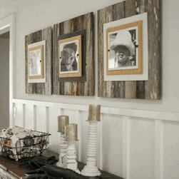 Reclaimed Wood Frame, Large - I really like these frames. They are very rustic chic and look great in a group. Also, you don't even have to take them off the wall to change the picture, which is always a bonus.