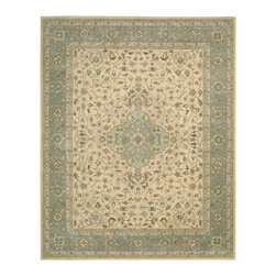 "Nourison - Nourison Heritage Hall HE21 (Beige) 5'6"" x 8'6"" Rug - Inspired by the incomparably elegant carpets of 17th Century Persia, this signature hand made collection makes an unmistakably ""Old World"" fashion statement. To achieve the characteristically delicate palette of this group, premium quality 100% New Zealand wool ""hard twist"" yarns are specially dyed for a subtlety of coloration that recreates the vintage look of traditional vegetable dyes. An extraordinarily dense construction ensures a soft superlative textural and years of lasting beauty."