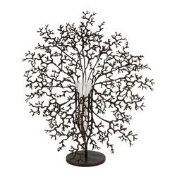 "IMAX - Antigua Metal Coral with Glass Vase Centerpiece - This bold conversation piece features a metal coral design and suspends a glass vase for holding your favorite elegant florals.  Item Dimensions: (29.5""h x 25""w x 15"")"