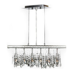 """Worldwide Lighting - Nadia 6-Light Chrome Finish and Clear Crystal Linear Pendant 24"""" W x 10"""" H Large - This stunning 6-light crystal chandelier only uses the best quality material and workmanship ensuring a beautiful heirloom quality piece. Featuring a radiant chrome finish and finely cut premium grade clear crystals with a lead content of 30%, this elegant chandelier will give any room sparkle and glamour."""