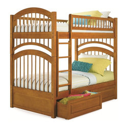 Atlantic Furniture - Windsor Twin Over Twin Bunk Bed / Raised Panel Drawers / Caramel Latte - This bunk bed has been tested by an independent laboratory and is in compliance with ASTM F-1427 Standard Consumer Safety Specification for Bunk Beds and the Government Code of Federal Regulations 1213 and 1513.