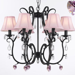 Wrought Iron Empress Crystal (TM) Chandelier Chandeliers Lighting W/ Pink Crysta - Wrought Iron Empress Crystal (TM) Chandelier Chandeliers Lighting W/ Pink Crystal Hearts and Pink Shades -  For Nursery, Kids, Girls Bedrooms, Kitchen, Etc! This beautiful Chandelier is trimmed with Empress Crystal(TM) 100% Crystal Wrought Iron Chandelier. A Great European Tradition. Nothing is quite as elegant as the fine crystal chandeliers that gave sparkle to brilliant evenings at palaces and manor houses across Europe. This beautiful chandelier from the Versailles Collection has 6 lights and is decorated and draped with 100% crystal that capture and reflect the light of the candle bulbs. The frame is Wrought Iron, adding the finishing touch to a wonderful fixture. The timeless elegance of this chandelier is sure to lend a special atmosphere anywhere its placed!  SHADES INCLUDED!