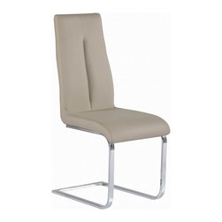 Chintaly Imports - Taupe Cantilever Chair with Back Handle (Set of 2) - Contour back chair offers full back support, Eye-catching cantilever chrome base, Chair has a handle on the back,