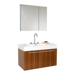 Fresca - Fresca Vista Bathroom Vanity w/ Acrylic Sink & Countertop, Teak - A spacious one basin vanity is a chic addition to any decor. Ideal for anyone looking for a winning combination of style, sleek design, and size that brings it all together to presnt something dashingly urban. A simple sleekly chic design that compliments any interior that demands to be updated to a strong streamlined space.