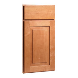 CliqStudios.com - Mendota Maple Caramel Stained Wood Shaker Kitchen Cabinet Sample - Mendota's simple shapes and rich lines make it a perfect fit for any home. The solid wood, full overlay door and the slab drawer front have a matching outside profile. The CliqStudios Mendota door pairs perfectly with stainless appliances, nickel finish hardware, glass subway tile backsplash, modern bar stools, hardwood floors and granite countertops.  Mendota works equally well in an open concept kitchen, galley kitchen, u-shaped kitchen, kitchen island, kitchen peninsula or in a nearby kitchen desk or window seat. Consider coordinating with a variety of recessed lighting, undercabinet task lighting, pendant lighting and other decorative accents.
