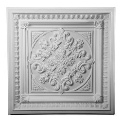 "Ekena Millwork - 24""W x 24""H Edwards Ceiling Tile - 24""W x 24""H Edwards Ceiling Tile. Our ceiling medallion collections are modeled after original historical patterns and designs. Our artisans then hand carve an original piece. Being hand carved each piece is richly detailed with deep relief, sharp lines and a truly unique touch. That master piece is then used to create a mould master. Once the mould master is created we use our high density urethane foam to form each medallion. The finished look is a beautifully detailed, light weight, solid construction, focal piece. The resemblance to original plaster medallions is achieved only by using our high density urethane and not vacuum formed, plastic type medallions. Medallions can be cut using standard woodworking tools to add a hole for electrical or a ceiling fan canopy. Medallions are light weight for easy installation. They are fully primed and ready for your paint."