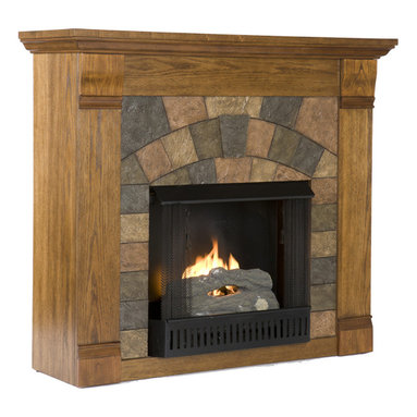 Holly & Martin - Underwood Gel Fireplace, Antique Oak - Beautifully rustic, this antique oak fireplace exudes character and style. The stunning wood grain is further enhanced with aged distressing such as worm holes and small marks and imperfections making each piece unique. The faux slate front has a stunning pattern of tiles that arch across the front creating this true masterpiece. Portability and ease of assembly are just two of the reasons why our fireplace mantels are perfect for your home. Requiring no electrician or contractor for installation allows instant remodeling without the usual mess or expense. In addition to your living room or bedroom, try moving this fireplace to your dining room for romantic dinners or complement your media room with a vent less fireplace below your flat screen television. Use this great functional fireplace to make your home a more welcoming environment.