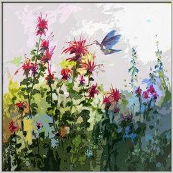 Hummingbird on Bee Balm Modern Art -