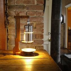 Carburator Lamp - Table/ambiance lamp, made from SU carburetor parts, a salt & pepper shaker, sapele or mahogany, aluminum and brass. Lamp creates a nice mood, and makes for a great conversation piece. I require two weeks to build one, as I've sold the lamp pictured. Buyer pays for shipping, unless local.