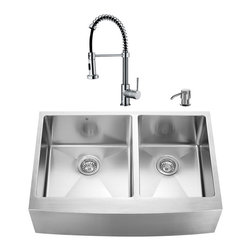 "VIGO Industries - VIGO All in One 33-inch Farmhouse Stainless Steel Double Bowl Kitchen Sink and C - Give your kitchen a complete makeover with a VIGO All in One Kitchen Set featuring a 33"" Farmhouse - Apron Front sink, faucet, soap dispenser, two matching bottom grids and two strainers."