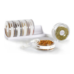 Spice Things Up Spice Rack - This cylindrical spice rack is a unique, sleek way to store the herbs and spices you need to cook up an amazing meal. Jamie Oliver, move over!