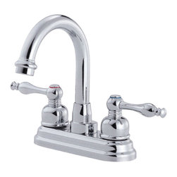"Danze - Danze D301255 Chrome High Rise Faucet 4"" Centerset - Danze D301255 Two Handle Centerset Lavatory Faucet is part of the Sheridan Bath collection.  D301255 has a Chrome finish.  D301255 3 hole mount lav faucet has a 5"" long and 7"" high swivel spout, with metal pop-up drain.  D301255 Two lever handles meets all requirements of ADA.  California and Vermont compliant."
