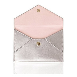 Russell + Hazel - Business Card Holder, Silver by Russell + Hazel - Ideal for business cards and credit cards, this stylish and functional mini leather envelope comes complete with a complimentary cotton twill lining. Snap enclosure keeps your belongings safe.
