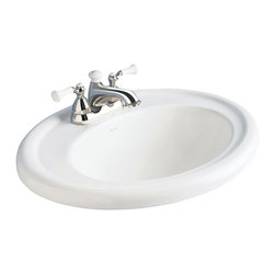 "American Standard - Standard Collection Self-Rimming Drop-in Bathroom Sink with 8"" Centers in White - American Standard 0293.008.020 Standard Collection Self-Rimming Drop-in Bathroom Sink with 8"" Centers in White. The American Standard Standard Collection Self-Rimming Drop-in Bathroom Sink in White id designed to complement a wide variety of bathroom decorating schemes. The fireclay ceramic construction ensures long-lasting use and the oval bowl shape is classically styled, making it ideal for older homes. It features pre-drilled 8 in. center faucet holes and a cut-out template to make installation easier.American Standard 0293.008.020 Standard Collection Self-Rimming Drop-in Bathroom Sink with 8"" Centers in White, Features:Fireclay ceramic construction for long-lasting use"
