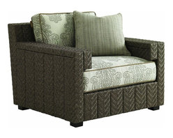 Lexington - Tommy Bahama Blue Olive Lounge Chair - The contemporary channel design is a signature element of the Blue Olive collection. Each vertical channel features a striking herringbone weave of all-weather wicker. The unique double-arm offers a generous armrest while creating a stylish inset below the arm that cradles the edge of the seat cushion. The 3230-11-CS cushion set includes one 20-inch throw pillow.