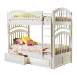 Atlantic Furniture - Atlantic Furniture Windsor Bunk Bed Twin Over Twin in White - Atlantic Furniture - Bunk Beds - AB57102