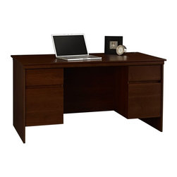 Ameriwood - Ameriwood Executive Desk - Resort Cherry Multicolor - 9111207P - Shop for Desks from Hayneedle.com! Make your first executive decision the Ameriwood Executive Desk - Resort Cherry. Crafted with a rich cherry laminate finish this basic desk boasts a spacious worktop two box drawers for supplies two file drawers that accommodate letter-size files profiled edges and grommets for easy cord management. Requires assembly. About AmeriwoodAmeriwood Industries is one of the leading manufacturers of wood and engineered wood products in the United States. For more than 30 years Ameriwood has helped furnish homes across North America with ready-to-assemble furniture including wood and metal furniture pieces for home office entertainment and bedroom.