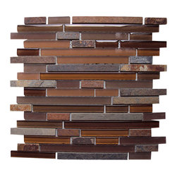 Century Glass - Century Slate Glass Mixed Liner Mosaic, Rust Mocha - If you are looking to add a little special touch to a wall or backsplash, then our blended glass mosaics are the answer.  Our Glass Mosaics are blended with clear and frosted glass and marble and stone in a color palette that would suit everyone's needs--from pale ivory to rich emperador.