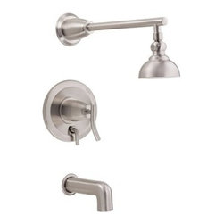 "Danze - Danze® Sonora™ Single Handle Tub & Shower Faucet Trim Kit with 4"" Showerhead - B - Fluid, sleek, and spectactular, the Sonora(TM) Collection adds a touch of subtle elegance to your bath. When used in conjunction with the required pressure balance valve, this trim kit automatically maintains your desired water temperature and controls water flow to up to two outlets via the integrated diverter. Available in multiple finishes. Features 4"" downpour showerhead with 36 jets All brass 15"" shower arm Diverter on valve Manufacturer's limited ""lifetime"" warranty ADA Compliant REQUIRES mixing valve D113000BT View Spec Sheet"