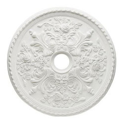 Westinghouse - Westinghouse Cape May 28 in. Ceiling Medallion 7775400 - Shop for Lighting & Fans at The Home Depot. Ceiling medallions enhance a ceiling fan or light fixture with a touch of easy elegance. They are simple to install and provide an extra decorative element to complement existing molding or woodwork. This durable 28 in. medallion with a 4 in. center opening is made of lightweight polyurethane that can be finished or unfinished and will not warp, crack, or splinter. It comes with mounting hardware: one 3 in., 1/8-IP nipple; two 2 in. 8/32 crossbar screws; and three 1-1/2 in. drywall screws.