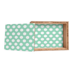 Mintiest Polka Dots Jewelry Box, Medium - - 100% sustainable, eco-friendly flat grain amber bamboo wood box with printed glossy exterior lid and interior bottom